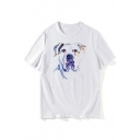 Painting Dog Printed Round Neck Short Sleeve T-Shirt