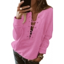 V Neck Lace Up Front Plain Long Sleeve Sweatshirt