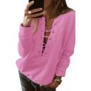 V Neck Lace Up Front Plain Long Sleeve Sweatshirt