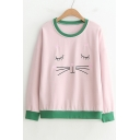 Cat Heart Embroidered Contrast Trim Round Neck Long Sleeve Sweatshirt