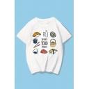 JAPANESE FOOD NOODLES Letter Food Printed Round Neck Short Sleeve T-Shirt