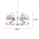 Cartoon Panda Design Suspension Light Kids 3/5 Lights Lighting Fixture with Fabric Shade in White Finish