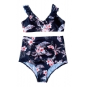 Ruffle Trim Floral Printed V Neck Sleeveless High Waist Bottom Bikini