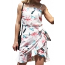Popular Leaf Printed Spaghetti Straps Sleeveless Tie Waist Mini Asymmetrical Dress