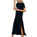 Leisure Plain Round Neck Short Sleeve Split Side Maxi T-Shirt Dress