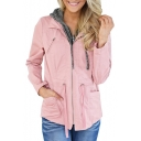 Zip Up Long Sleeve Color Block Fake Two Pieces Chic Hooded Jacket