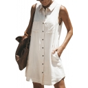 Button Up Lapel Collar Sleeveless Plain Mini Shirt Dress