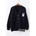 Cat Embroidered V Neck Button Front Long Sleeve Contrast Striped Hem Loose Cardigan