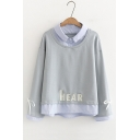 Fake Two Piece Lapel Collar Long Sleeve HEAR Letter Embroidered Sweatshirt