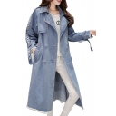 Notched Lapel Collar Long Sleeve Extended Letter Printed Straps Embellished Double Breasted Tunic Denim Trench Coat
