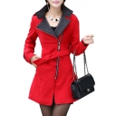 Notched Lapel Collar Long Sleeve Zip Up Bow Tie Waist Plain Tunic Coat