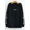 AMORE Letter Floral Embroidered Long Sleeve Casual Hoodie