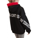 Color Block Hood Letter Printed Loose Long Sleeve Hoodie