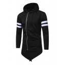 Contrast Striped Patched Long Sleeve Slim Asymmetric Hem Zip Up Hoodie