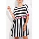 Tassel Embellished Round Neck Striped Printed Mini Smock Dress