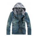 Detachable Contrast Hood Patchwork Long Sleeve Zip Up Denim Hooded Jacket