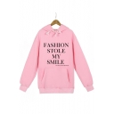 FASHION STOLE Letter Printed Long Sleeve Hoodie