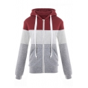 Zip Closure Long Sleeve Slim Color Block Leisure Hoodie