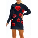 Heart Printed Long Sleeve Slim Mini Hooded Dress