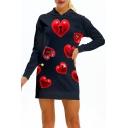 Heart Printed Long Sleeve Slim Mini Hooded Dress