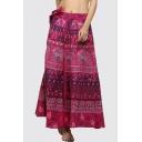 Tribal printed Leisure Loose Maxi Wrap A-Line Skirt