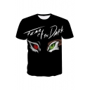 TEAR OF THE DARK Letter Eyes Printed Round Neck Short Sleeve T-Shirt