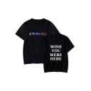 WISH YOU WERE HERE Letter Printed Round Neck Short Sleeve Graphic Tee