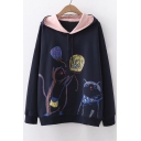 Lovely Painting Cat Printed Long Sleeve Leisure Hoodie