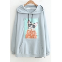 Loose Lovely Cat's Picture Applique Long Sleeve Hoodie