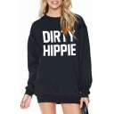 DIRTY Letter Printed Round Neck Long Sleeve Oversized Sweatshirt
