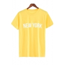 NEW YORK Letter Printed Round Neck Short Sleeve Casual T-Shirt