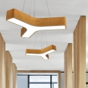 Modern Light-Adjustable Wooden Y-Shaped Led Pendant Light 36W/42W Energy Saving 3 Forks Angle Office Study Room Studio Clothes Store Aisle Led Chandelier in Acrylic Metal