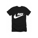 FUCK Letter Gesture Printed Round Neck Short Sleeve Tee