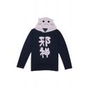 Long Sleeve Chinese Cat Printed Slim Long Sleeve Hooded Tee