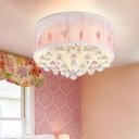 Crystal Accent LED Flush Mount Ceiling Light with Fabric Shade for Princess Bedroom
