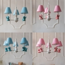 Elephant Design Suspension Light with Blue/Pink Fabric Shade Boys Girls Room 3/5 Light Chandelier Light