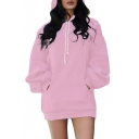 Chic Oversized Plain Long Sleeve Tunic Hoodie