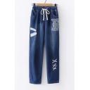 Cat Cross Embroidered Drawstring Waist Slim Straight Jeans