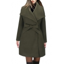 Lapel Collar Long Sleeve Plain Tie Waist Slim Woolen Coat