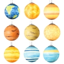 Global Shade Hanging Light with Planet Design Astronomy&Space Kids Room Acrylic Single Light Suspension Light