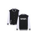 NASA Letter Color Block Contrast Striped Trim Long Sleeve Button Front Baseball Jacket