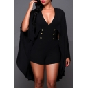 V Neck Plain Buttons Front Batwing Sleeve Romper