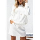 Ribbed Plain Long Sleeve Crop Hoodie with Mini Pencil Skirt Co-ords