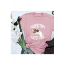 Cartoon Letter Cat Printed Short Sleeve Round Neck Leisure T-Shirt