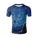3D Universe Planet Printed Short Sleeve Round Neck Slim Tee