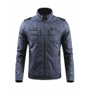 Stand Collar Long Sleeve Zip Up Slim Leather Jacket
