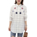 Star Embroidered Plaid Printed Lapel Collar Long Sleeve Button Front Shirt