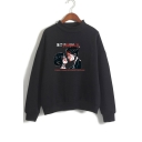 Letter Couples Printed High Neck Long Sleeve Sweatshirt