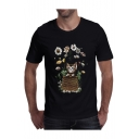 Floral Cat Printed Round Neck Short Sleeve Leisure T-Shirt