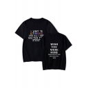 I WENT TO Letter Printed Round Neck Short Sleeve Comfort Tee